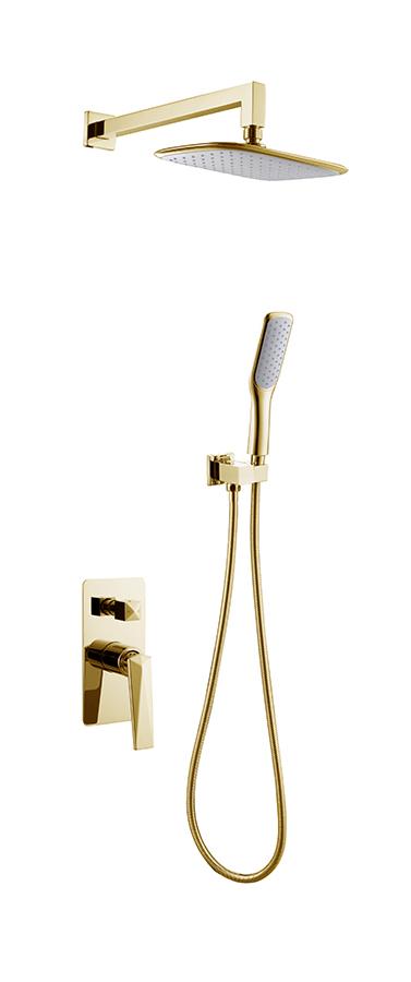 Смеситель встроенный Venturo + верхний душ + ручной душ ЗОЛОТО