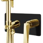 Гигеническая лейка со смесителем VENTURO черный + золото
