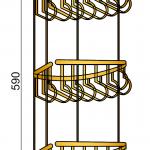 Угловая полка тройная (металл) Medici