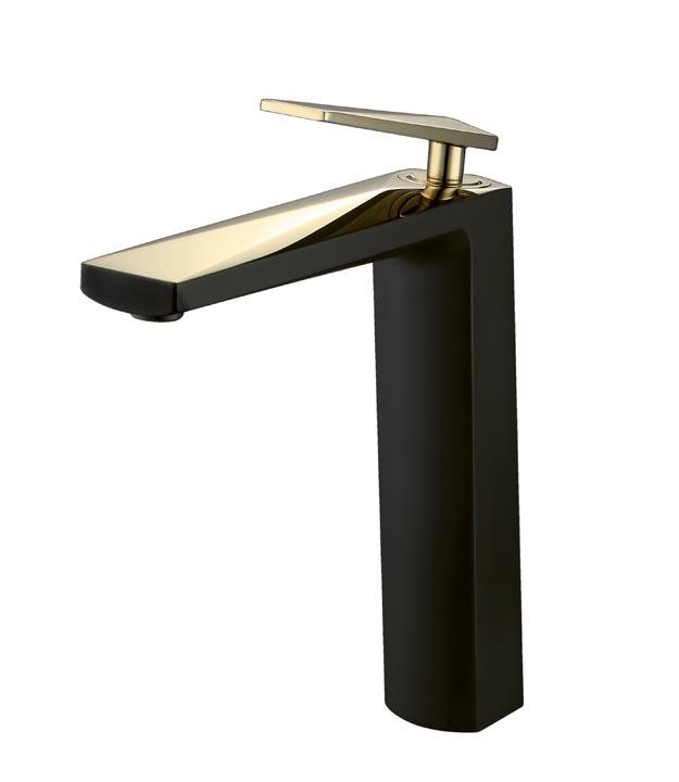 Смеситель для умывальника Venturo черный-золото