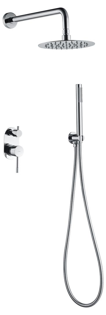 Смеситель встроенный + верхний+ ручной душ, Uno. Хром