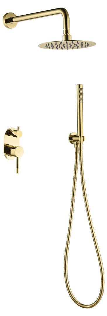 Смеситель встроенный + верхний+ ручной душ, Uno. Gold