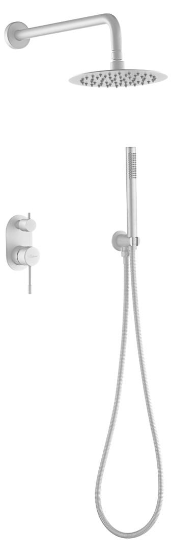 Смеситель встроенный + верхний+ ручной душ, Uno. Matt White