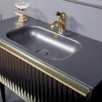 Тумба Canale 100 черная золото + Столешница моноблок