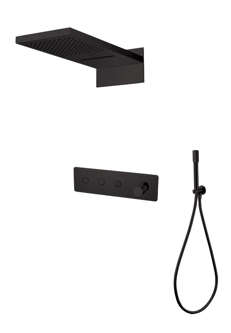 Душевая система скрытого монтажа Boheme FUSION, черный. Смеситель+ручной душ+верхний душ