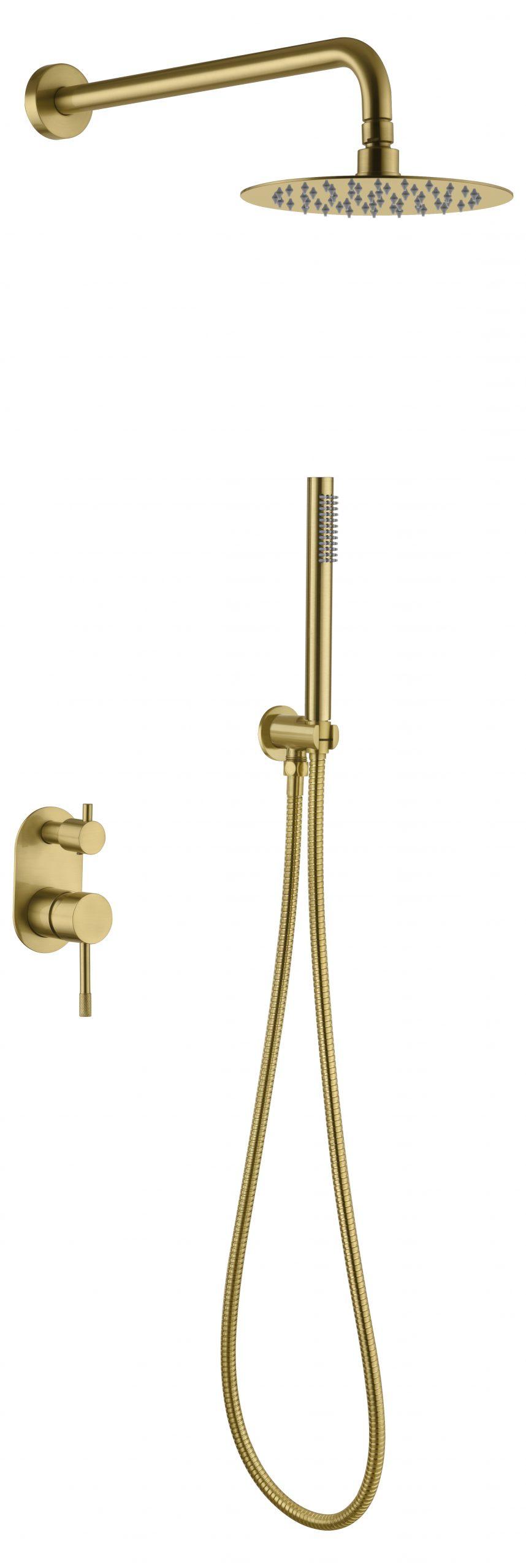 Смеситель встроенный + верхний+ ручной душ, Uno. Matt Gold