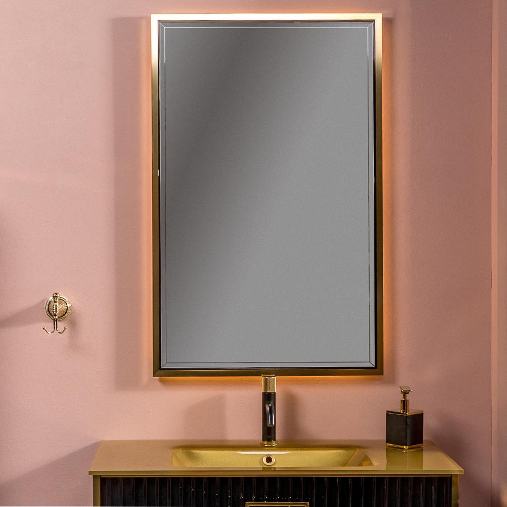 Зеркало MONACO  с подсветкой 70*110CM глянец черное+золото
