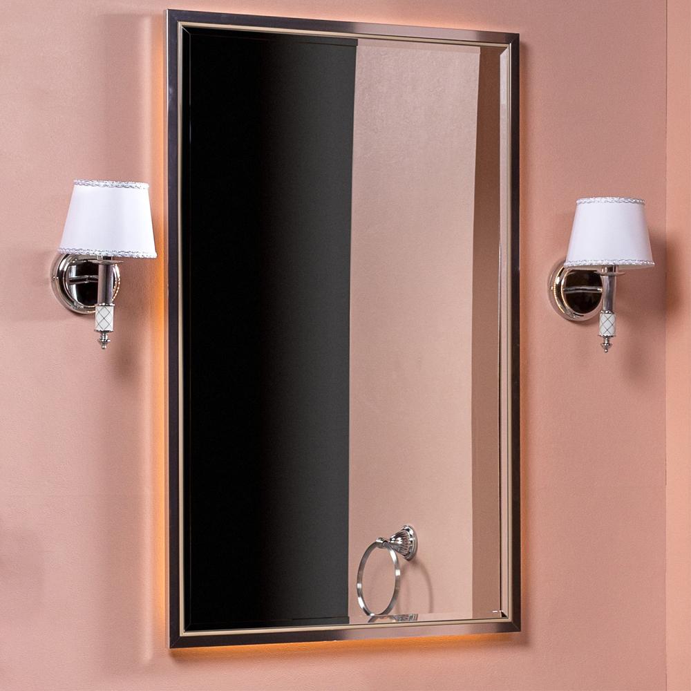 Зеркало MONACO  с подсветкой 70*110CM глянец капучино + хром