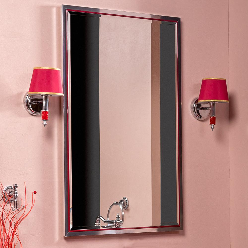 Зеркало MONACO  с подсветкой 70*110CM глянец бордо + хром