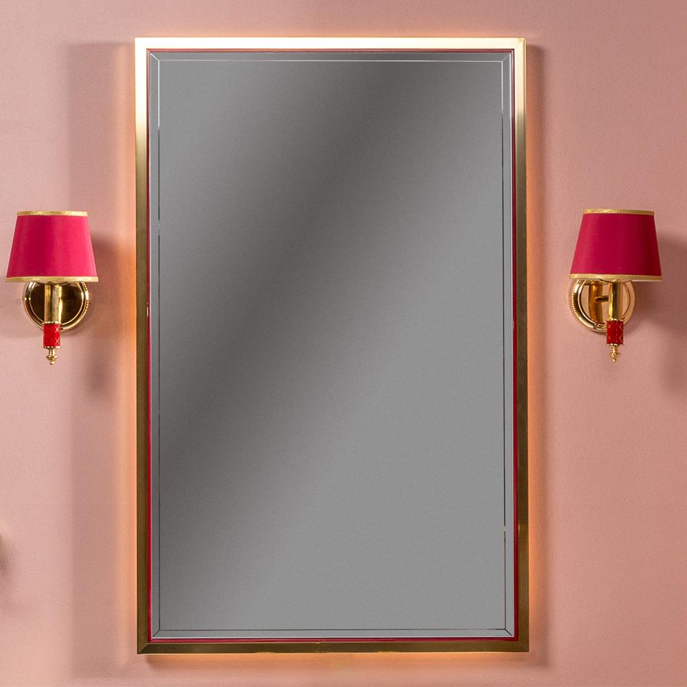 Зеркало MONACO  с подсветкой 70*110CM глянец бордо + золото