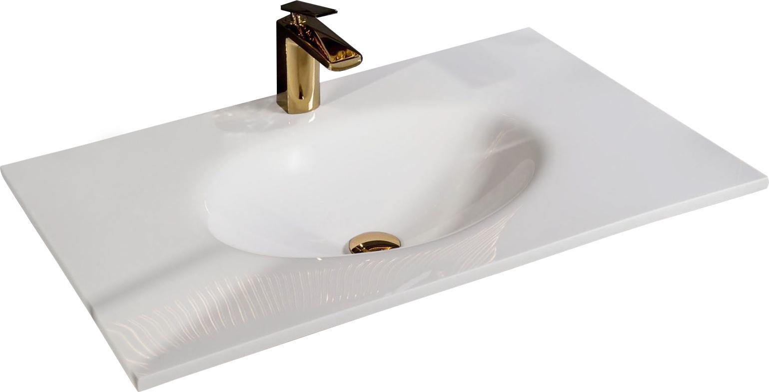 Столешница Solid Glass белая моноблок 81*52см