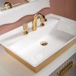 Тумба с раковиной Armadi Art Monaco 100 Белая, золото