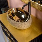 Тумба с раковиной Armadi Art Monaco 80 Черная, золото