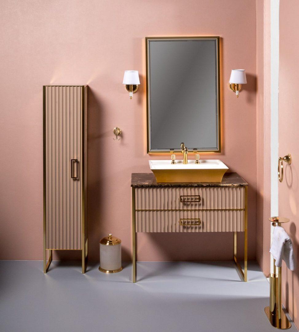 Тумба с раковиной Armadi Art Monaco 100 Капучино, золото