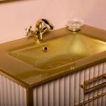Тумба с раковиной Armadi Art Monaco 80 Капучино, золото