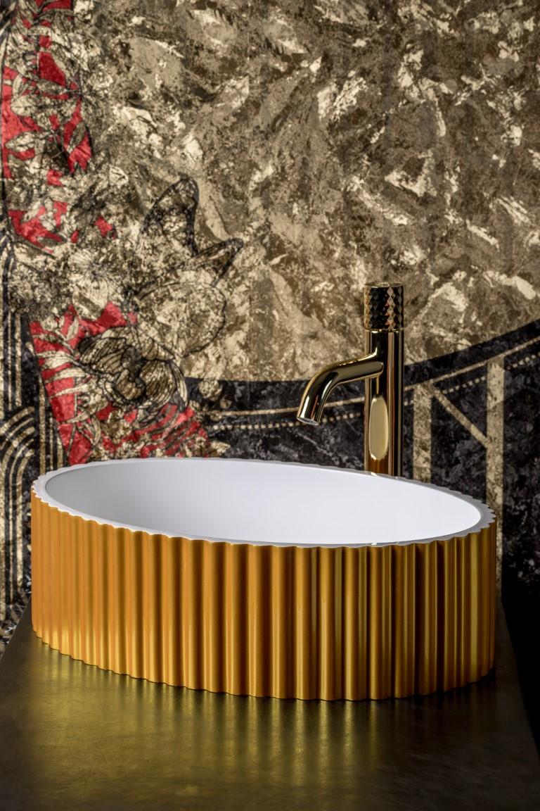 Раковина Canale рифл глянец золото