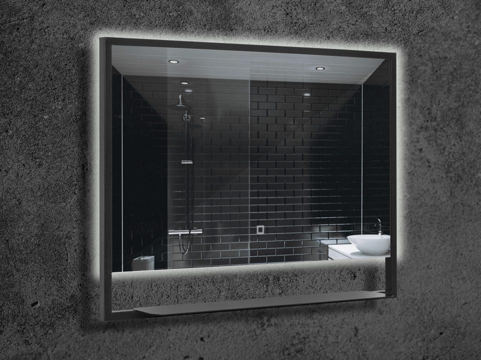 Зеркало Vallessi прямоугольное 80*80 с полочкой антрацит