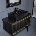 Тумба Canale 100 черная золото + Столешница прямая + Раковина